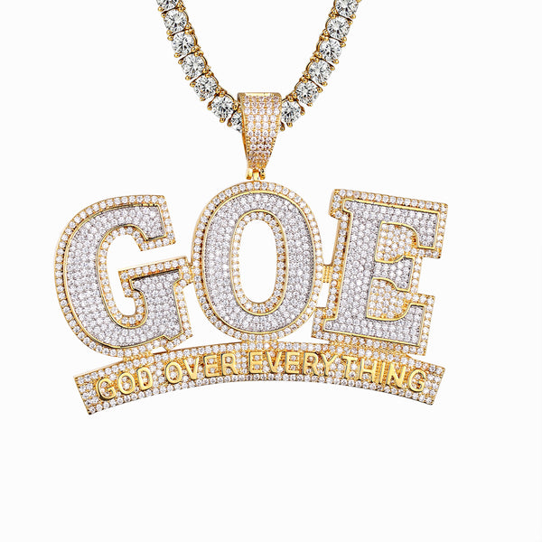 God Over Everything GOE Religious Bling Rapper Pendant