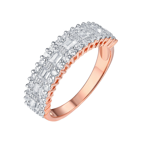 Rose Gold Wedding Ring Ladies Sterling Silver Cubic Zirconia Engagement Elegant