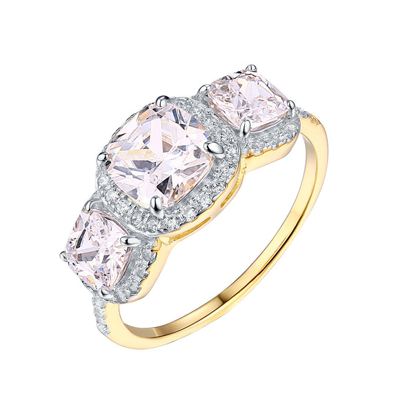 Gold Womens Wedding Ring Engagement Solitaire 925 Silver Cubic Zirconia New