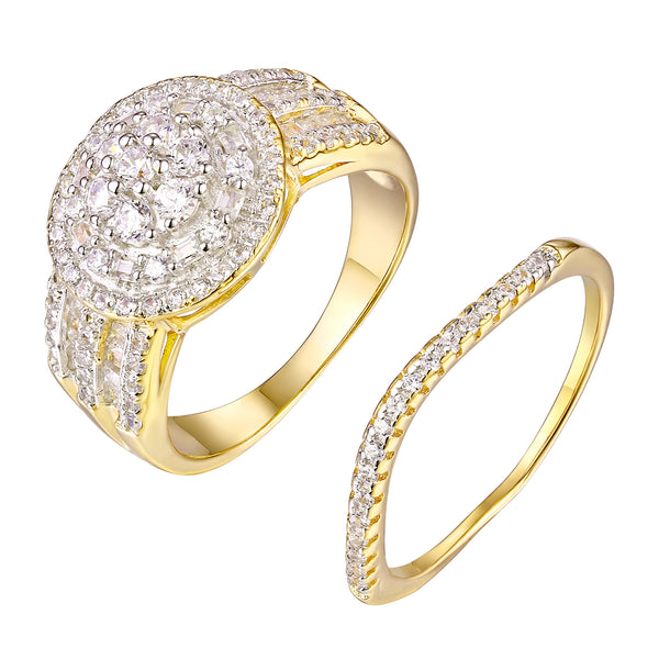 Cubic Zirconia Wedding Ring Ladies Gold On Sterling Silver Engagement Bridal