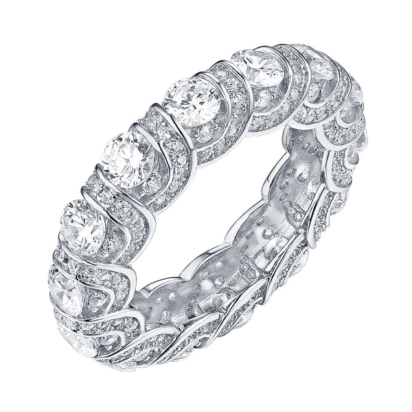 White Gold Eternity Ring 925 Silver Cubic Zirconia Solitaire Wedding Engagement