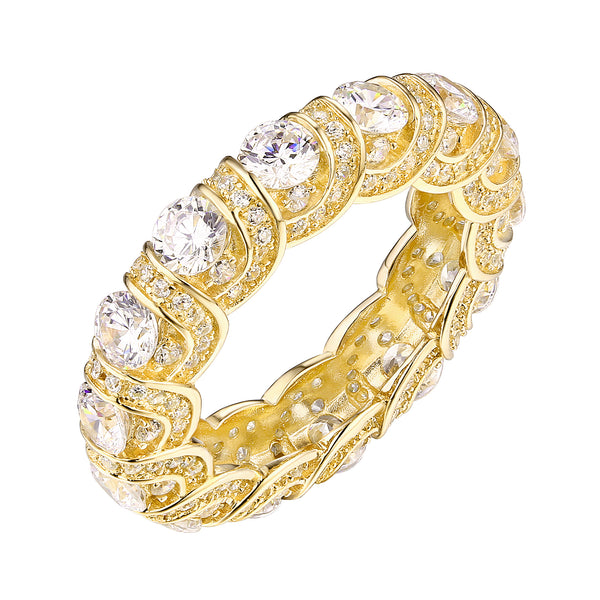 Sterling Silver Wedding Ring Womens Gold Finish Eternity Solitaire Cubic Zirconia