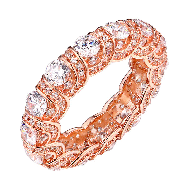 Sterling Silver Wedding Band Eternity Ring Wedding Bridal Rose Gold Cubic Zirconia