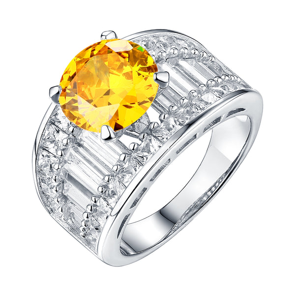 Womens Engaement Rings White Gold Finish Yellow Canary Center Stone