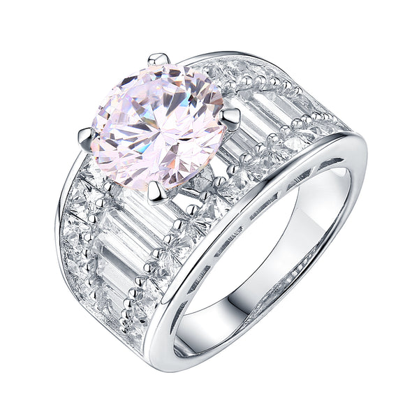 Ladies Wedding Engagement Ring White Gold Tone 925 Silver Cubic Zirconia Bridal