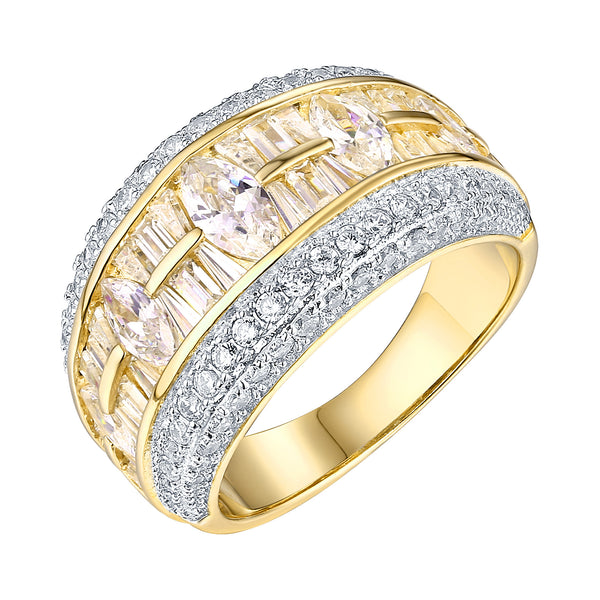 Pear Cut Wedding Ring Cubic Zirconia CZ Gold On 925 Silver Engagement Womens