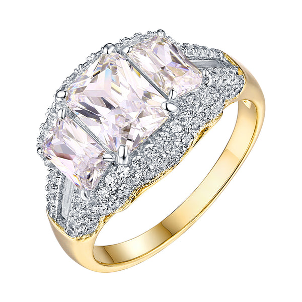 Wedding Ring Women Sale Gold On 925 Silver Cubic Zircon 3 Emerald Cut Solitaire