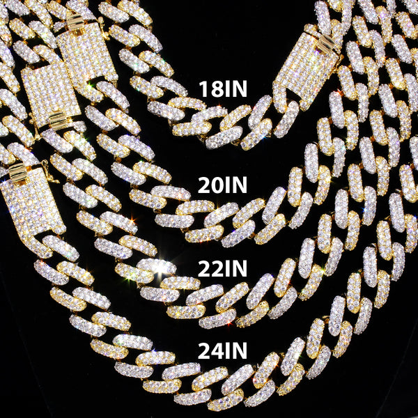 Two Tone Gold Bling 15mm Square Miami Cuban Chain