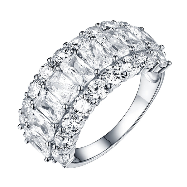 Sterling Silver Womens Ring Bridal Engagement Solitaire Cubic Zircon White Finish