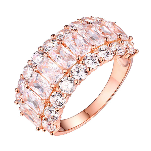Ladies Wedding Ring Rose Gold On 925 Silver Radiant Cut Cubic Zirconia Classy