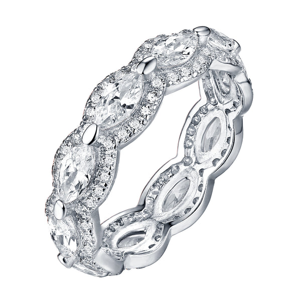 Pear Cut Eternity Ring White Gold On 925 Silver Solitaire Cubic Zircon Bridal Classy