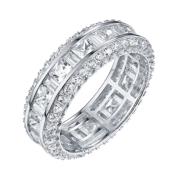 Ladies Sterling Silver Ring Wedding Engagement Princess Cut Cubic Zircon 925 Silver