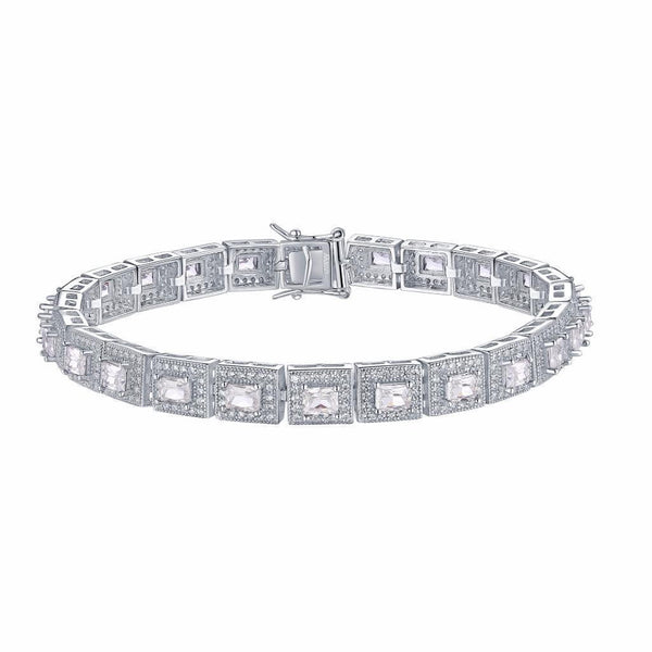 Womens Sterling Silver Princess Cut Bracelet