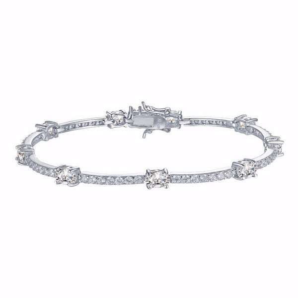 Ladies White Solitaire Link Bracelet