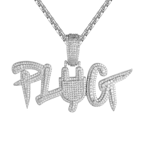 Designer Plug Micro Pave Switch Hip Hop Pendant Free Box Chain