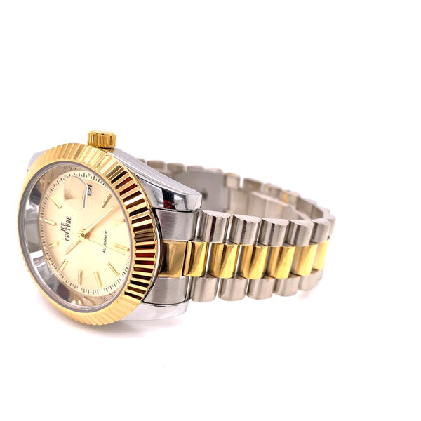 Mens Two Tone Designer Fluted Bezel Stainless Steel Wrist Watch