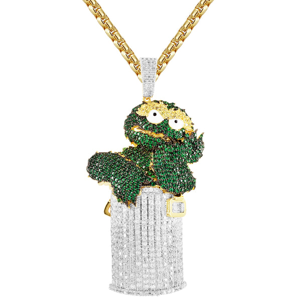 Mens Green Cartoon Character Trash Bin Bling Rapper Pendant