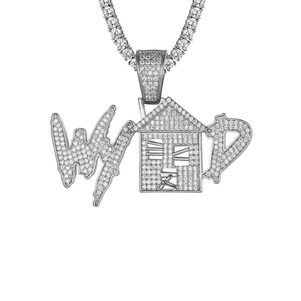 White Tone Trap House What you Doing Hip Hop Mens Pendant