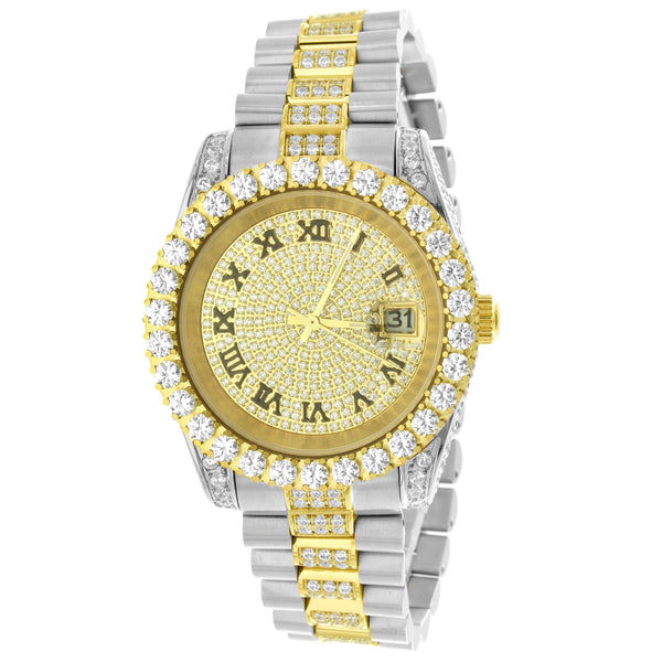 Stainless Steel Two Tone Gold Solitaire Bezel Roman Dial Watch