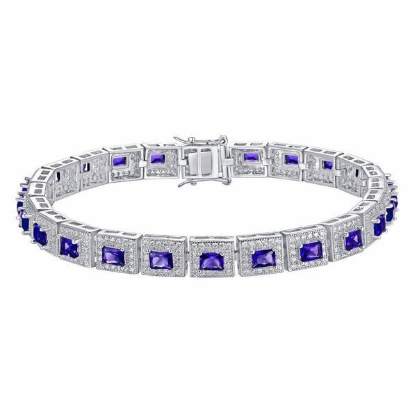 Princess Cut Amethyst Bracelet Sterling Silver
