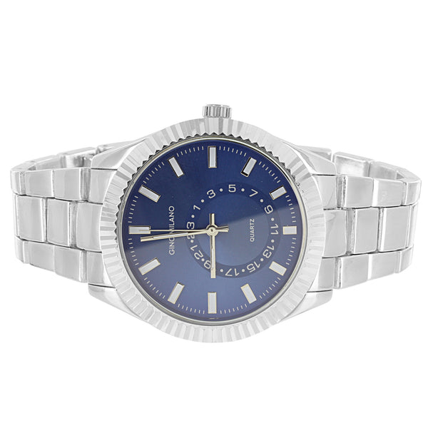 Silver Tone Men's Blue Face Fluted Bezel Classic Link Watch