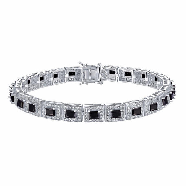 Black Princess Cut Bracelet Ladies White Gold Over Sterling Silver