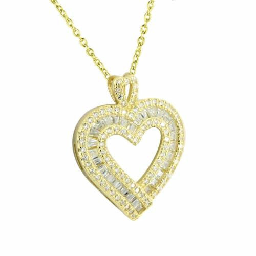 Gold Finish Heart Pendant Lab Diamond Baguette Necklace