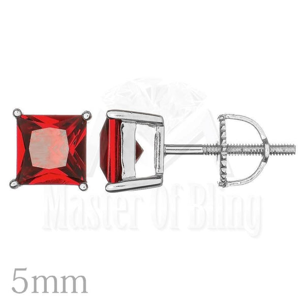 Square 5MM Unisex Simulated Lab Solitaire Silver Stud Earrings