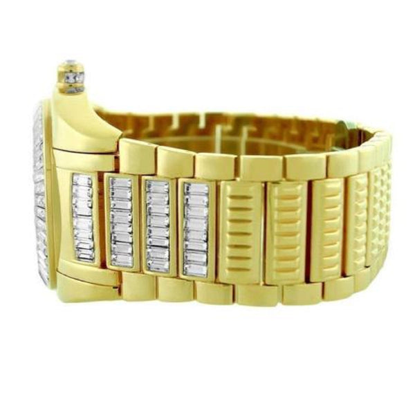 Mens Round Watch Baguette Lab Diamond Gold Finish