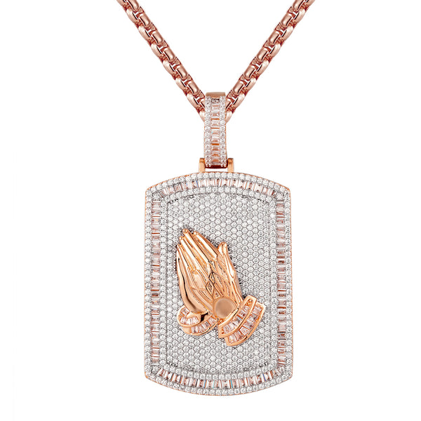 14k Rose Gold Tone Praying Hands Baguette Dogtag Pendant