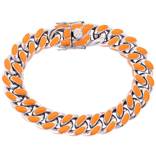 Stainless Steel Orange Enamel Miami Cuban Style Men's Bracelet