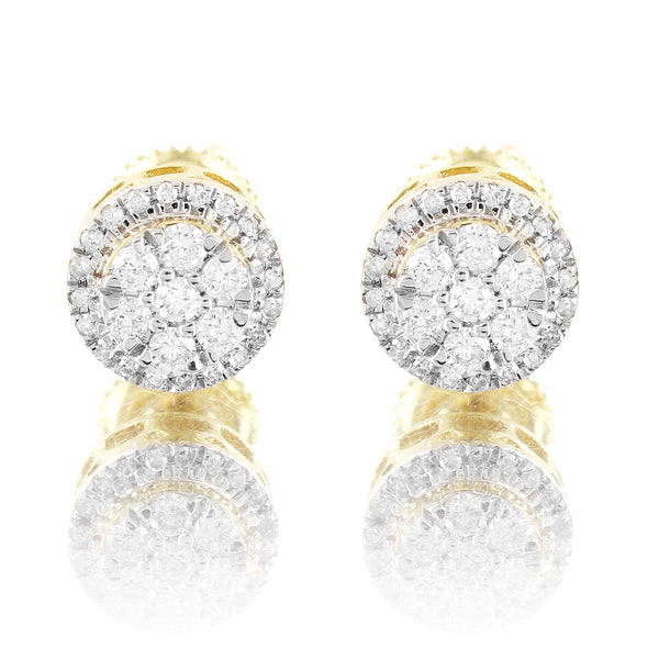 10k Gold Center Flower Real Diamond Screw Back Earrings
