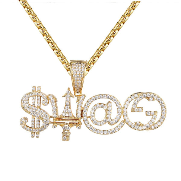 Custom Make your Own Set Men's Gold Tone Pendant Chain Set