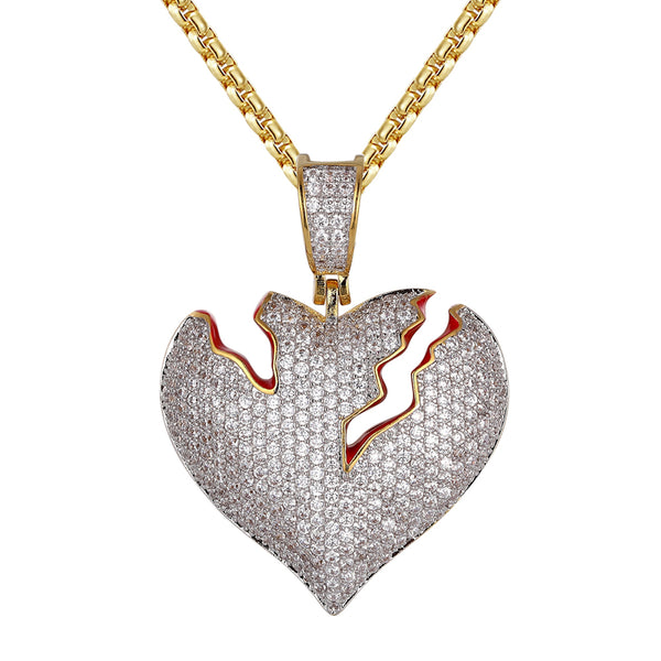 Cracked Heart Shape Hip Hop Gold Tone Silver Pendant Chain