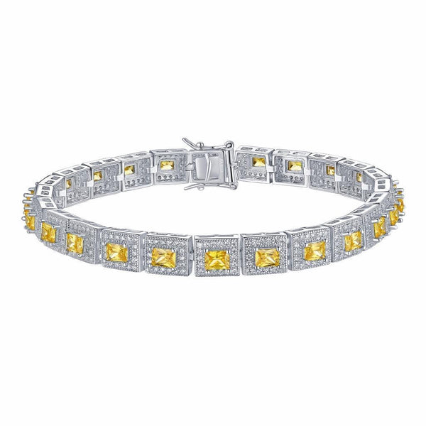 Princess Cut Canary Bracelet Square Link