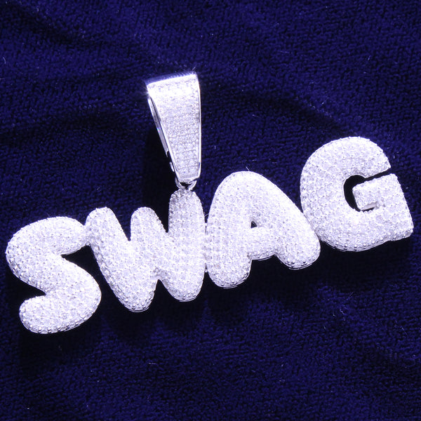 Silver Iced Out Swag Letters Mini Solid Back Bubble Hip Hop Pendant