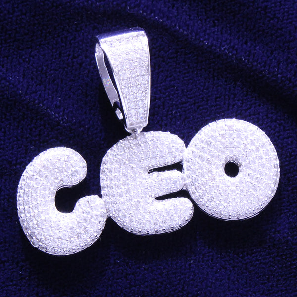 Silver Rich Money CEO Boss Solid Back Bubble Pendant