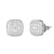 Silver Square Cluster Bling Rapper Screw Back Earrings