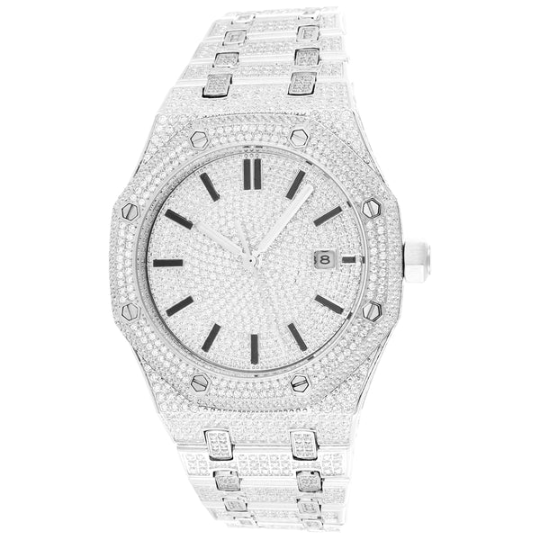 Men's Iced Out Stainless Steel White Finish Automatic Watch