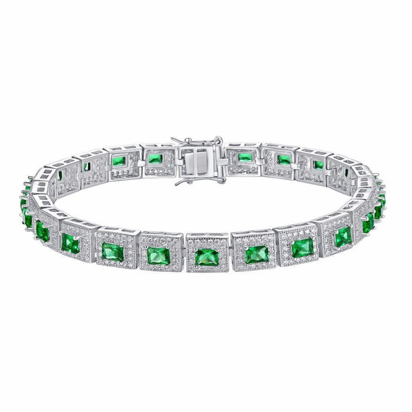 Princess Cut Emerald Solitaire Bracelet Womens Sterling Silver