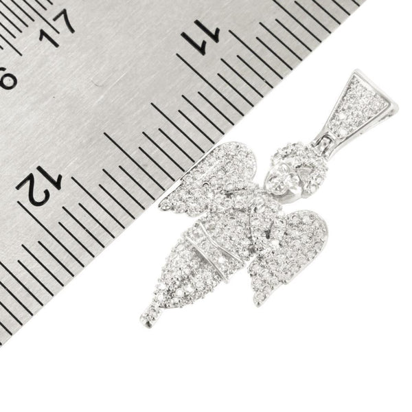 Angel Pendant Charm 14K White Gold Finish Simulated Lab Diamond