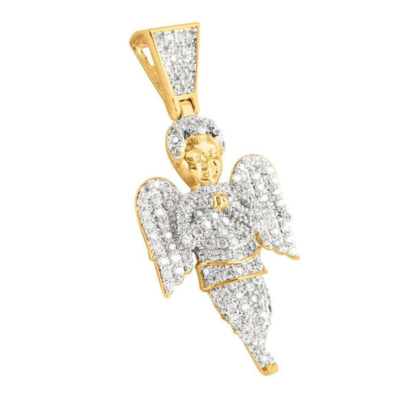 Angel Pendant Charm 14K Yellow Gold Finish Simulated Lab Diamond
