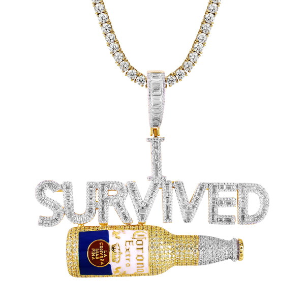 Baguette Icy I Survived Corona .925 Bottle Custom Pendant Chain