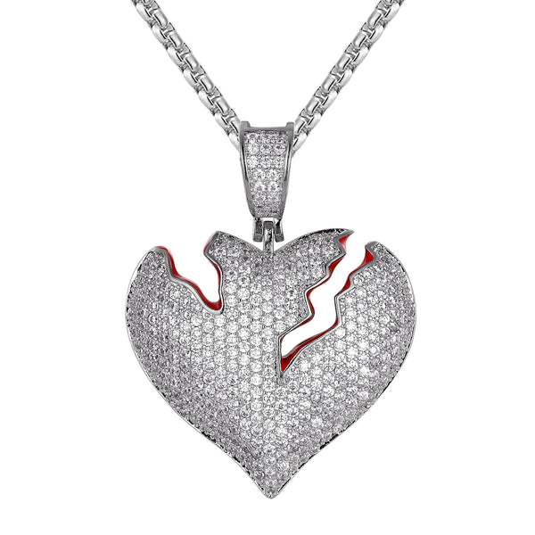 White Tone Broken Cracked Heart Shape Custom Pendant Chain
