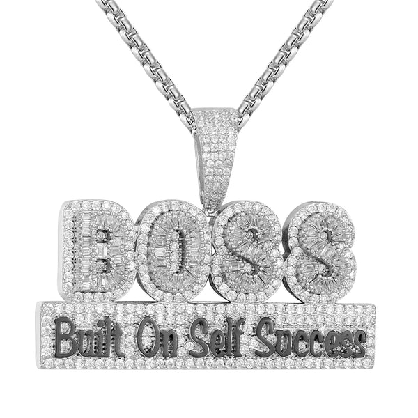 Icy BOSS Built On Self Success Hip Hop Baguette Silver Pendant