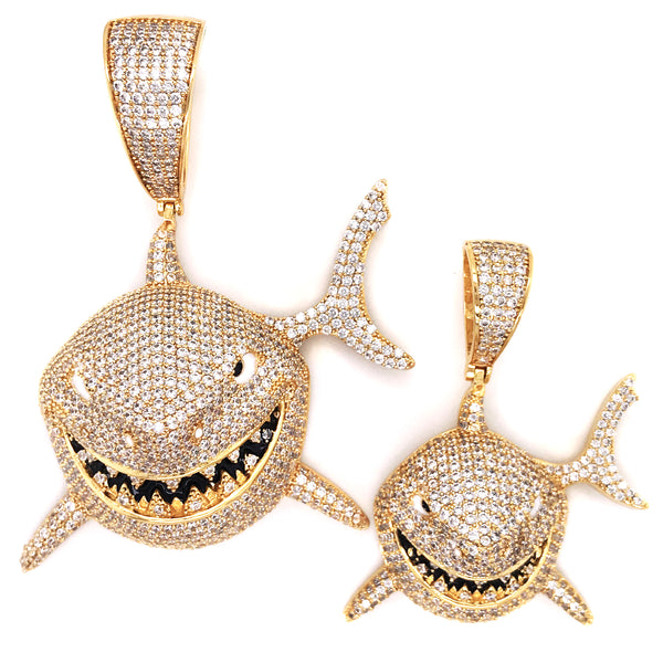 Icy 3D Small Great Shark Face Jaw Gold Tone Rapper Pendant