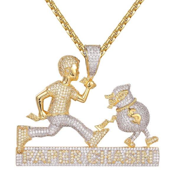 Man Chasin Paper Money Dollar Bag Hustler Gold Finish Pendant