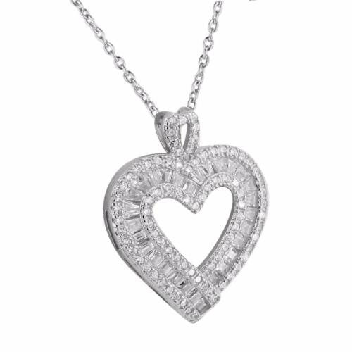 Heart Pendant Chain 14k White Gold Tone