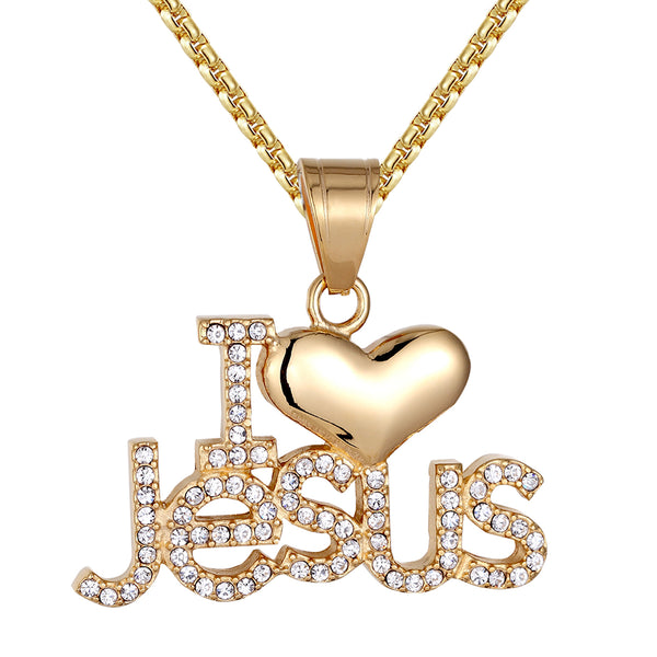 Custom Stainless Steel I Love Jesus Christ Faith Pendant Chain