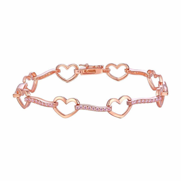 Heart Link Ladies Bracelet Rose Gold Finish